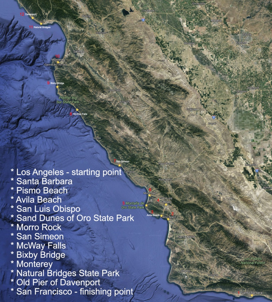 12 Ultimate Stops On Highway No. 1 - California Scenic Highway Map