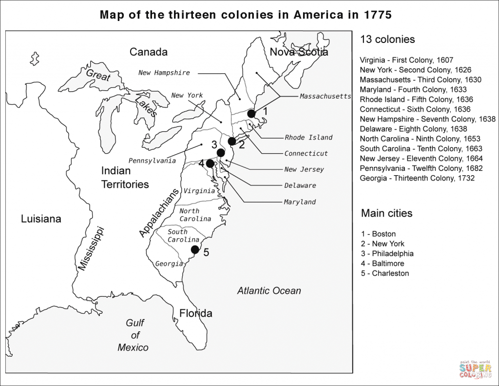 13 Colonies Map Coloring Page | Free Printable Coloring Pages - Outline Map 13 Colonies Printable