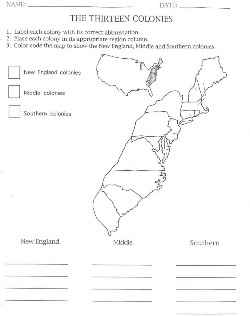 13 Colonies Map To Color And Label, Although Notice That They Have - Printable Map Of The 13 Colonies With Names
