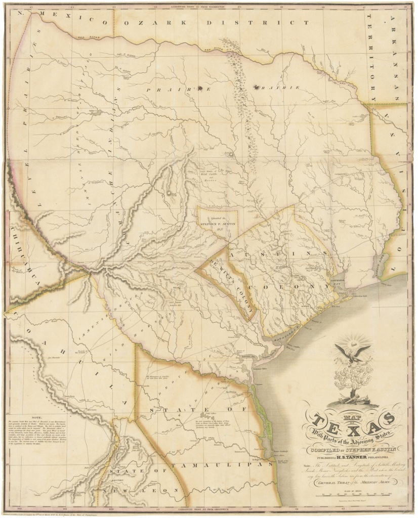 """1830 First Edition Of The Austin Map Of Texas: """"The Map Of Texas I - Antique Texas Maps For Sale"""