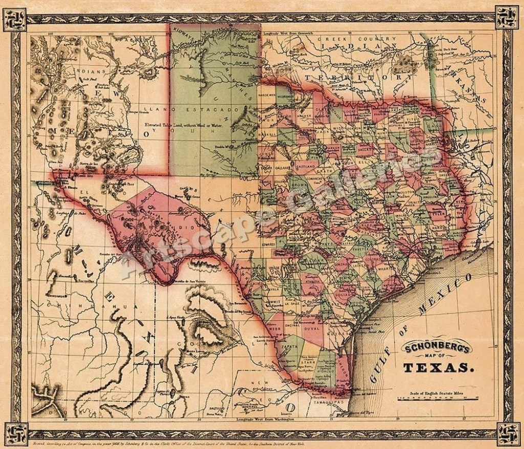 1866 Schönberg's Map Of Texas Historic Map 24X28 #vintage   Family - Antique Texas Maps For Sale