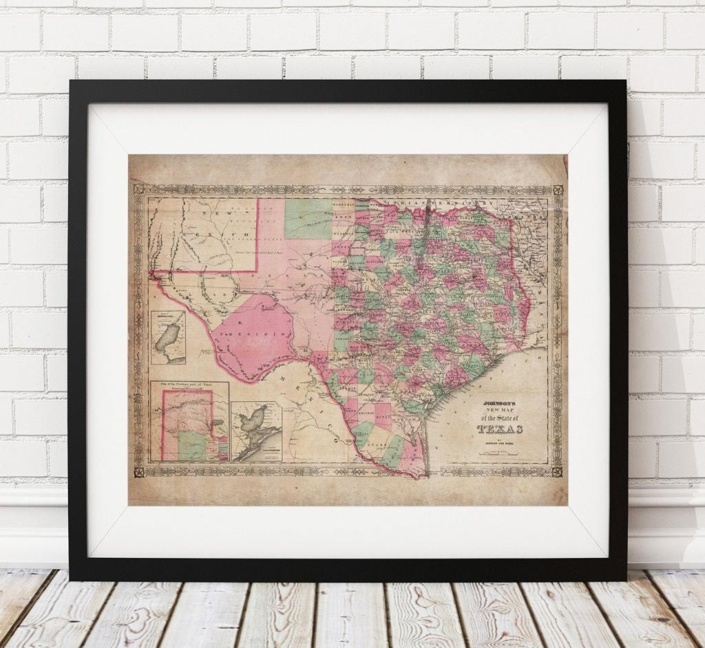 1866 Texas Map Print, Vintage Map Art, Antique Map, Wall Art, Map Of - Old Texas Map Wall Art