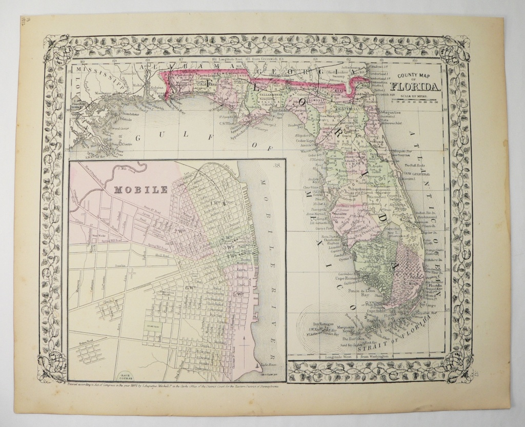 1872 Antique Map Florida State Map Vintage Florida Gift | Etsy - Vintage Florida Map