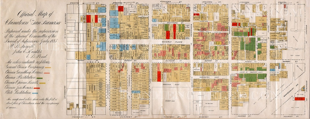 1880S Map Of Chinatown | Old San Francisco | Map, San Francisco, Old - Printable Map Of Chinatown San Francisco