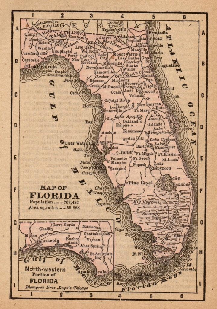 1888 Antique Florida State Map Vintage Map Of Florida Gallery | Etsy - Vintage Florida Maps For Sale