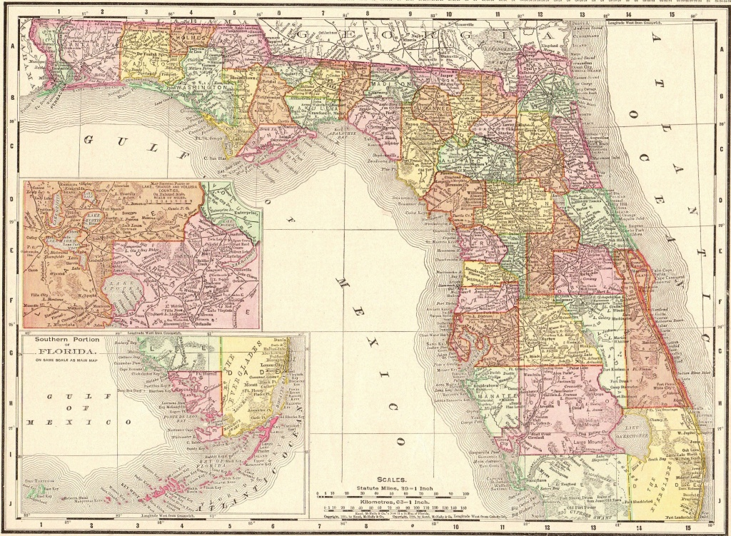 1900 Antique Florida Map Vintage Map Of Florida State Map Gallery - Florida Map 1900