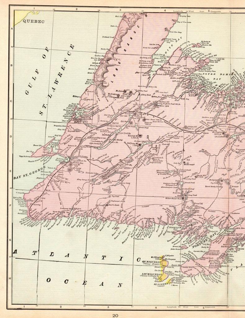 1901 Antique Newfoundland Map Of Newfoundland Canada Print Vintage - Printable Map Of Newfoundland