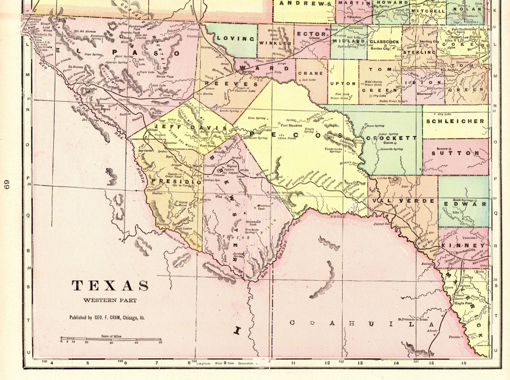 1901 Vintage Texas Map Of Western Texas Antique Map Travel   Etsy - Vintage Texas Map