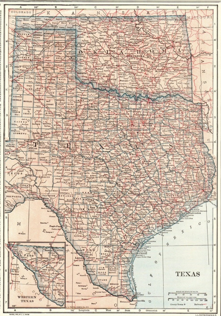 1914 Antique Texas Map Oklahoma Map State Map Of Oklahoma | Etsy - Map Of Oklahoma And Texas Together