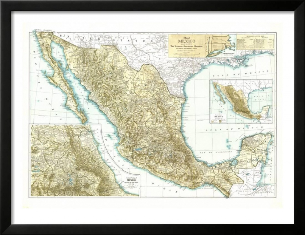 1916 Mexico Map Framed Print Wall Artnational Geographic Maps - National Geographic Printable Maps