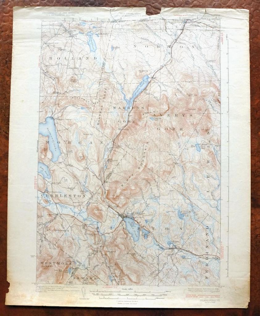 1926 Brighton Island Pond Vermont Vintage Original Usgs Topo Map - Usgs Printable Maps