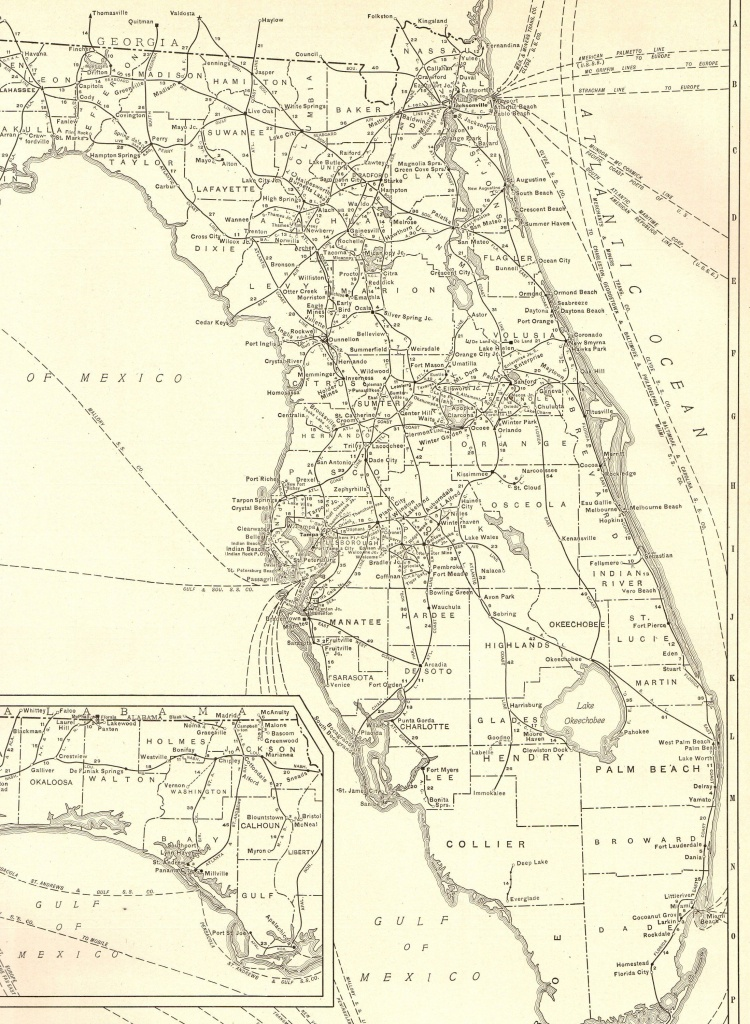 1927 Rare Size Antique Florida Map Vintage Map Of Florida Poster - Vintage Florida Map Poster