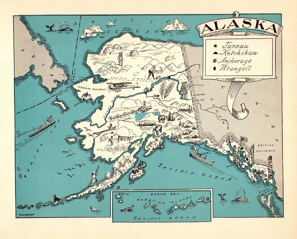1930's Vintage Alaska State Map Of Alaska Picture Cartoon Map Print - Alaska State Map Printable