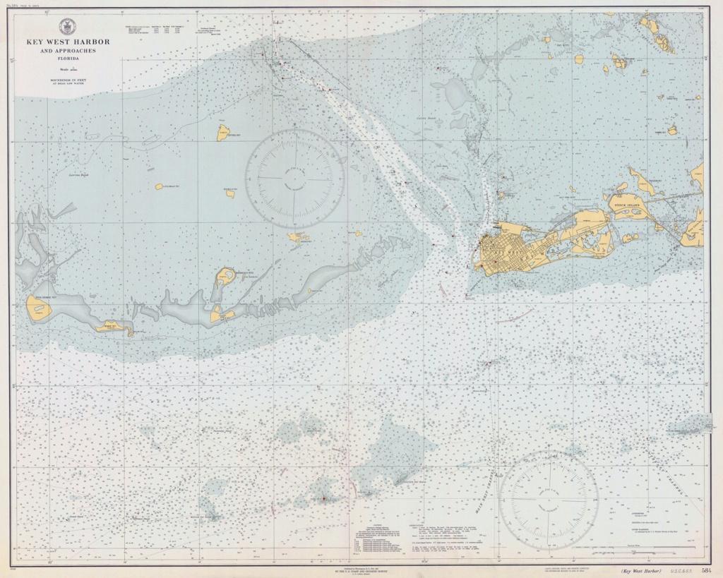 1940 Nautical Map Of Key West Harbor Florida | Etsy - Water Depth Map Florida