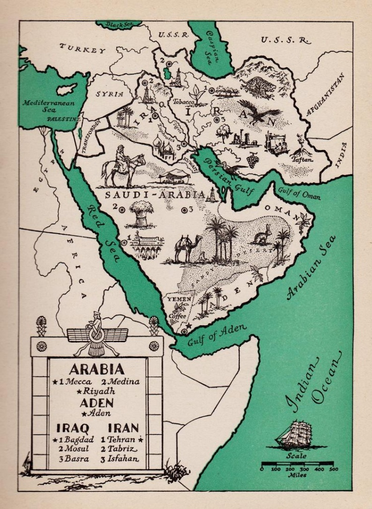 1940's Arabia Picture Map Of Saudi Arabia Print Map Of   Etsy - Printable Map Of Saudi Arabia