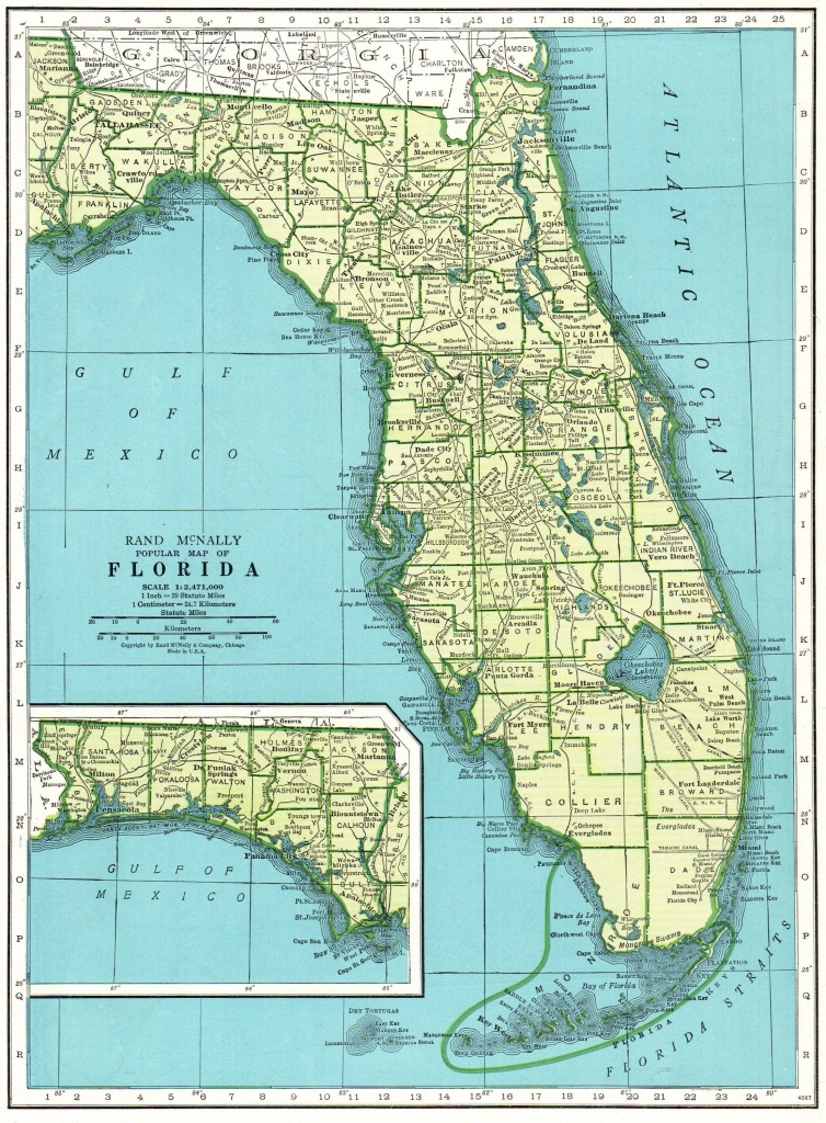1947 Vintage Florida Map Antique State Map Of Florida Print Gallery - Florida Map Wall Art