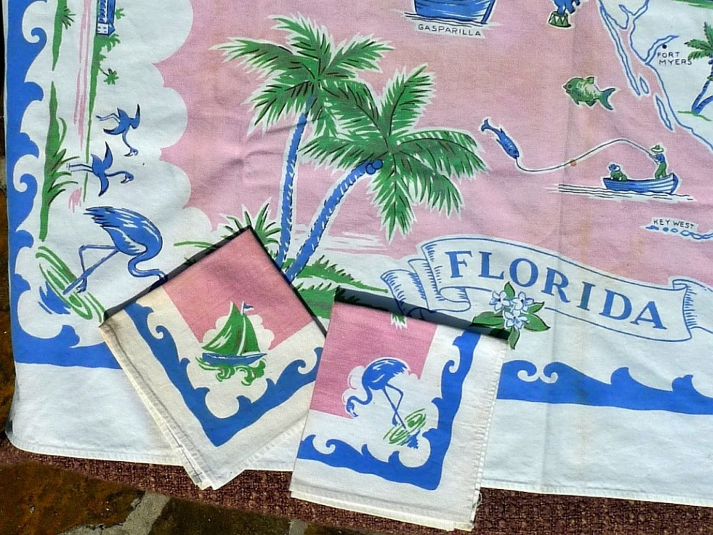 1950S Tablecloths   1950S Linens: Printed Florida Map Tablecloth And - Vintage Florida Map Tablecloth
