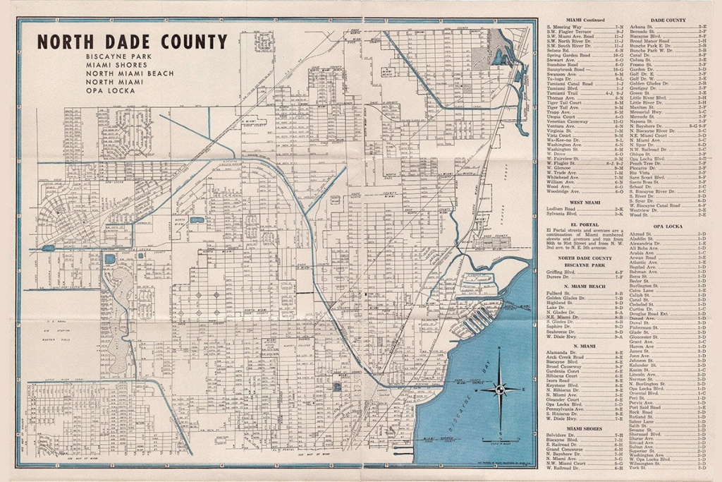 1952 Map Of North Dade County Florida   Etsy - Map Of Dade County Florida