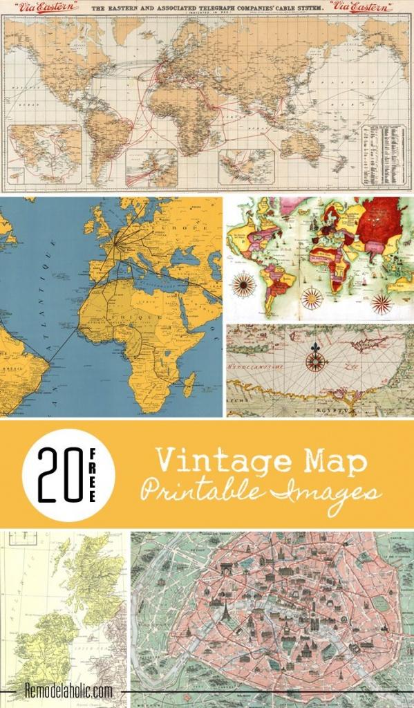 20 Free Vintage Map Printable Images | Remodelaholic #art - Create Printable Map