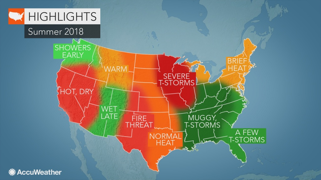 2018 Us Summer Forecast: Early Tropical Threat May Eye South; Severe - Weather Heat Map California