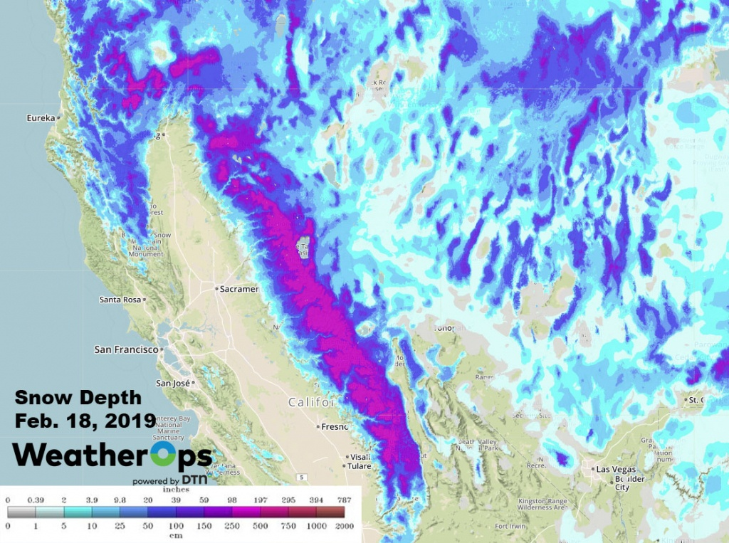 2019- An Enormous Year For California Ski Resorts - Snow Level Map California