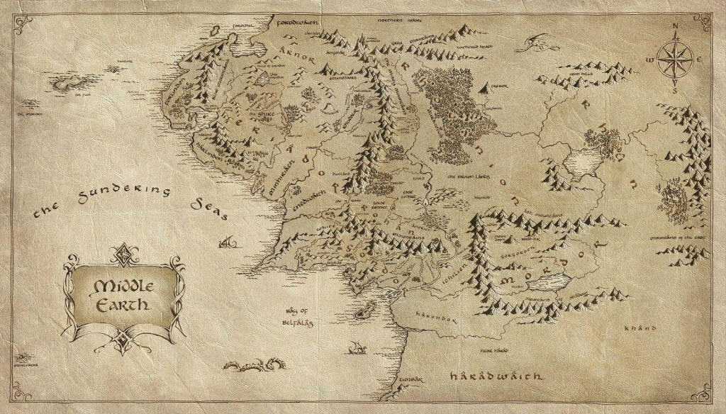 2019 Map Of Middle Earth Lord Of The Rings Art Silk Print Poster - Printable Map Of Middle Earth