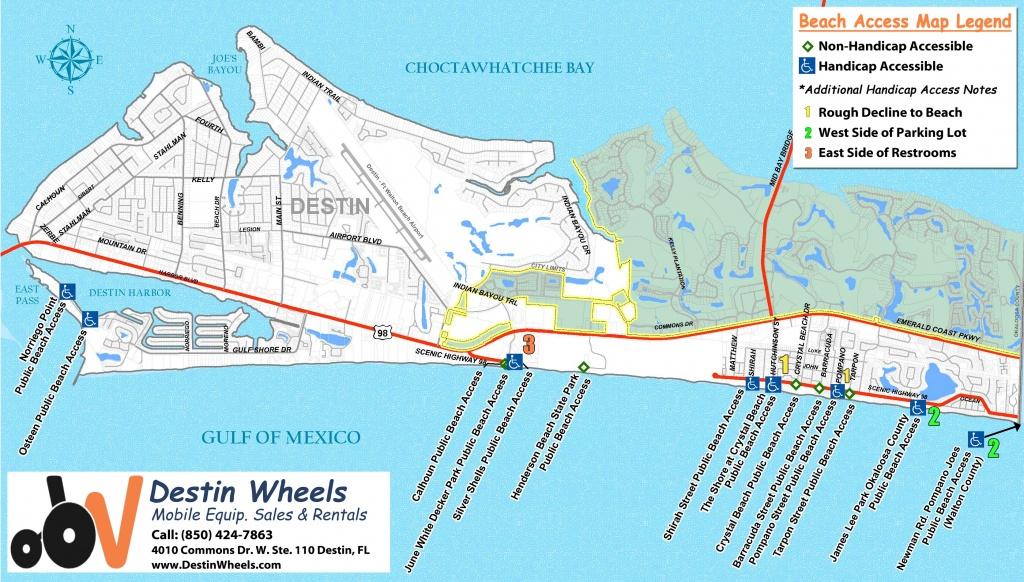 30A & Destin Beach Access - Destin Wheels Rentals In Destin, Fl - Destin Florida Map