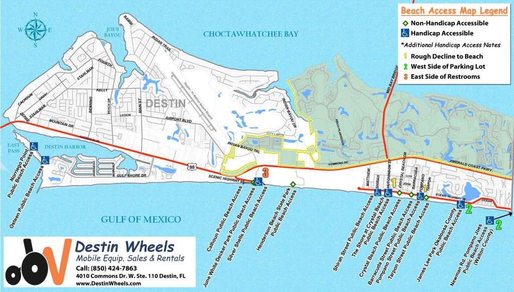 30A & Destin Beach Access - Destin Wheels Rentals In Destin, Fl - Florida Public Beaches Map
