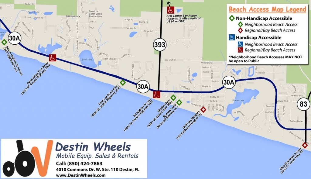30A & Destin Beach Access - Destin Wheels Rentals In Destin, Fl - Sandestin Florida Map