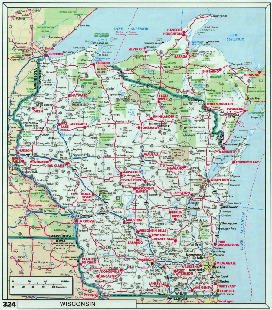 31 Described Detailed Map Of Wisconsin - Wisconsin Road Map Printable