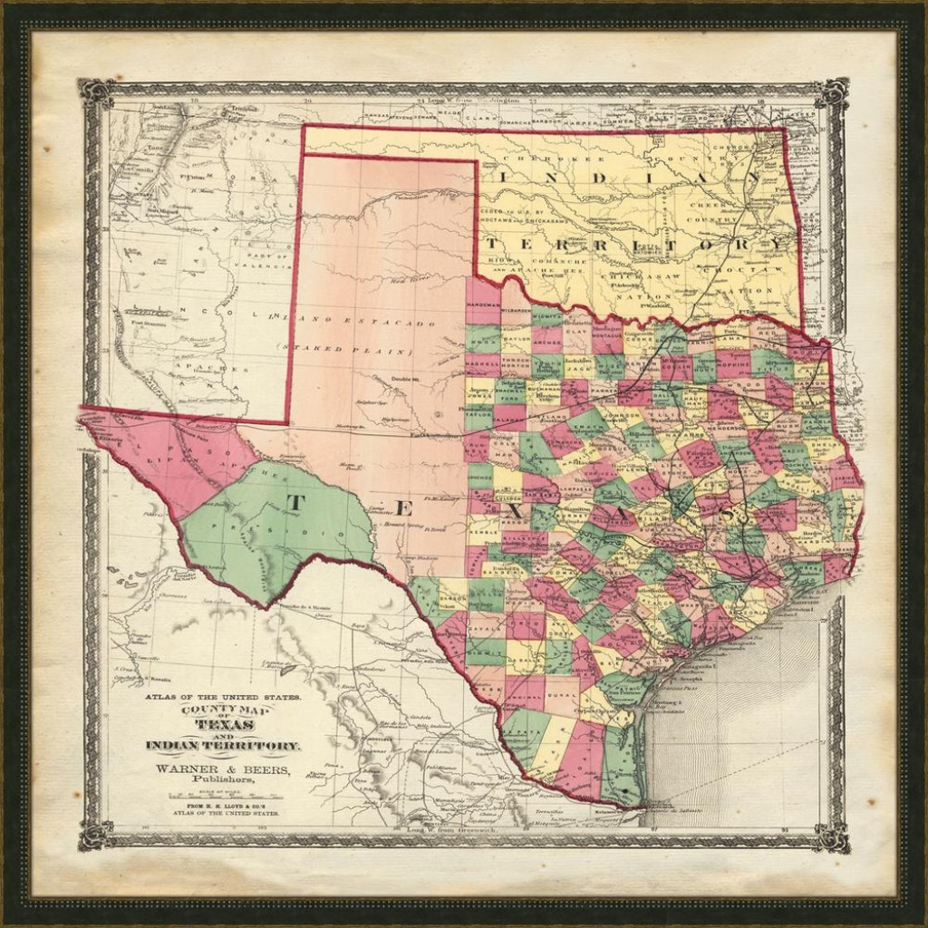 """32 In. X 32 In. """"vintage Map Of Texas"""" Framed Giclee Print Wall Art - Map Of Texas Art"""