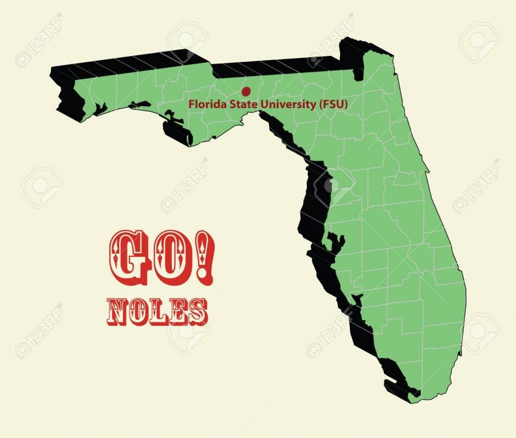 3D Map Of Fsu Florida State University Seminoles 2014 Bcs Champaign - Florida State University Map