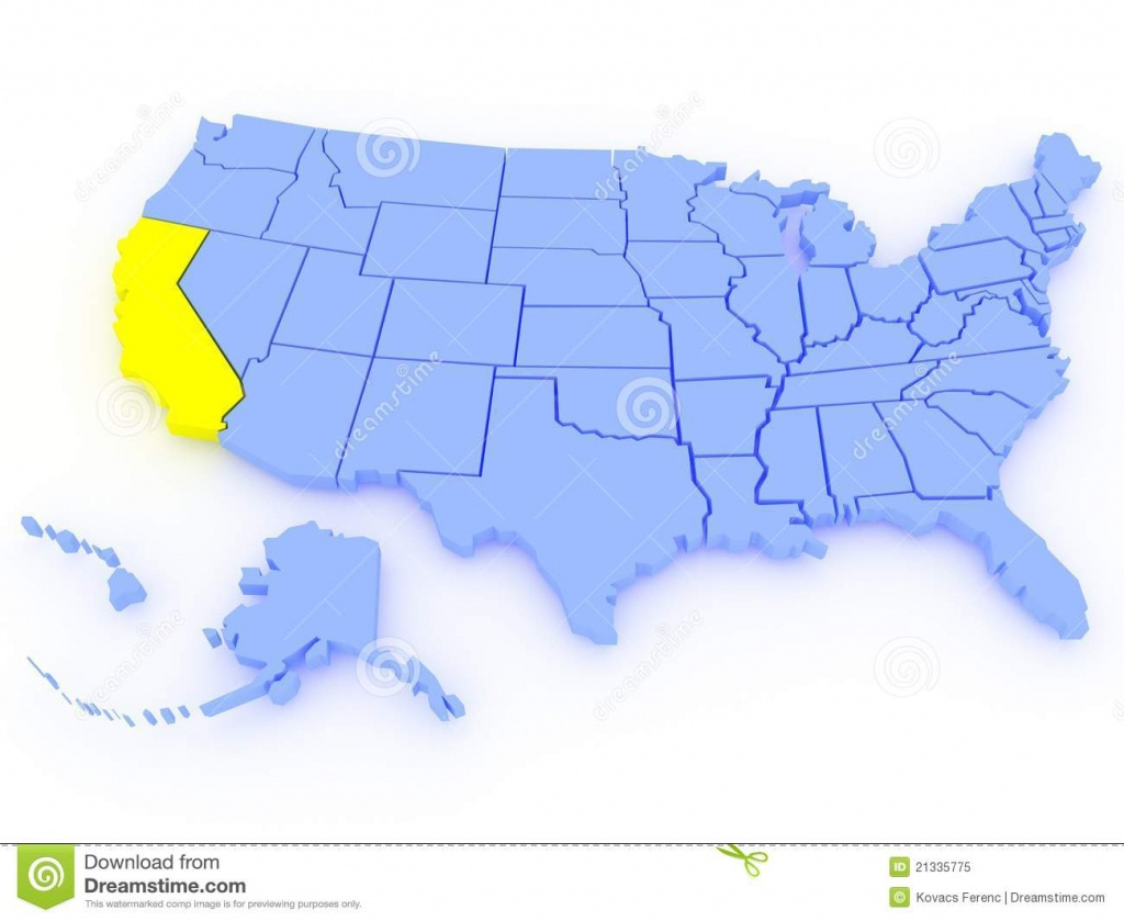3D Map Of United States - State California Stock Illustration - 3D Map Of California