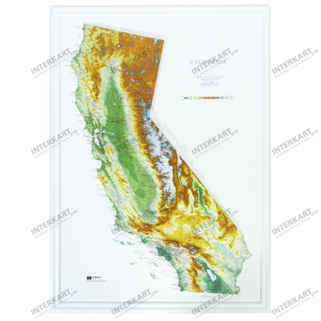 3D Relief Map California - Wall Maps - 3D Map Of California