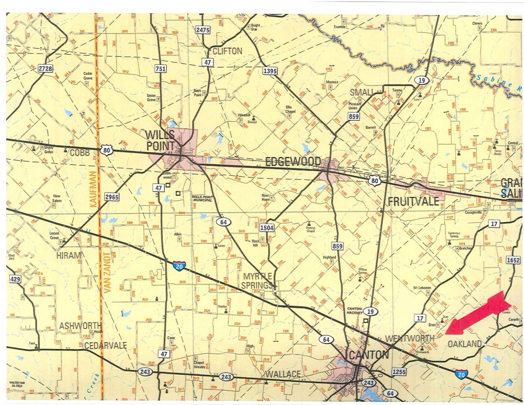 555 Acres In Van Zandt County, Texas - Van Zandt County Texas Map