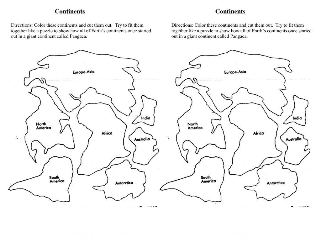 7 Continents Cut Outs Printables | World Map Printable | 7 - World Map Puzzle Printable