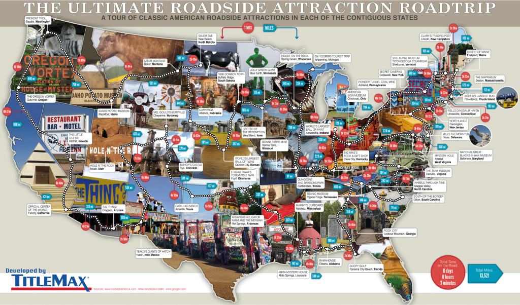 79 Weird Roadside Attractions Road Trip[Infographic] - Titlemax - Texas Sightseeing Map