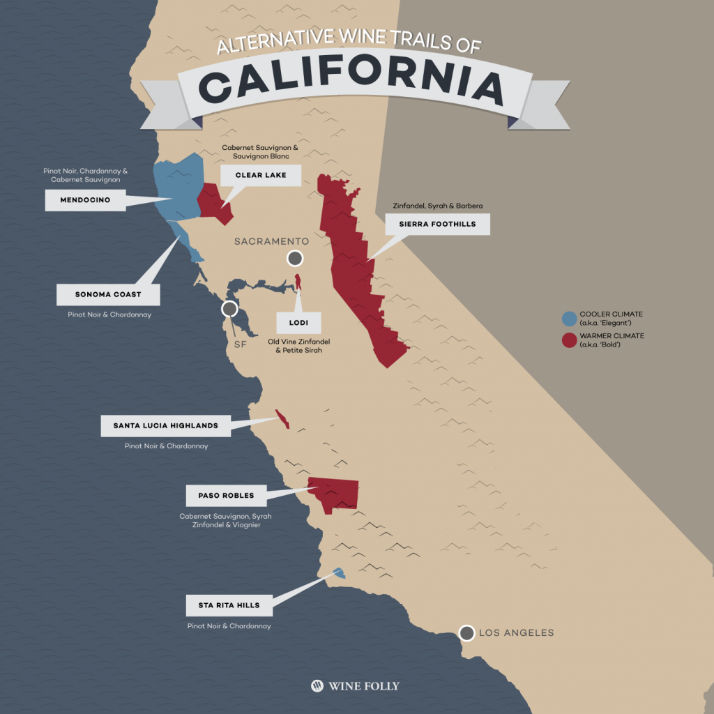 8 Alternative Wine Trails Of California   Wine Folly - California Vineyards Map
