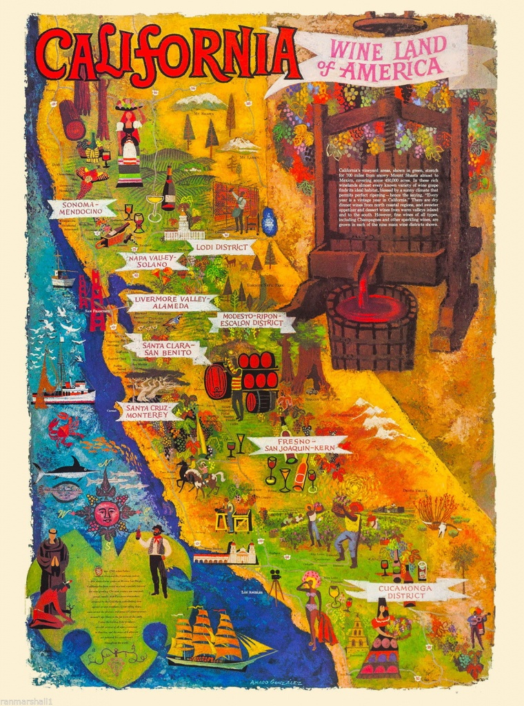95365 Wine Land California Wineries Map United States Decor Wall - California Wine Map Poster