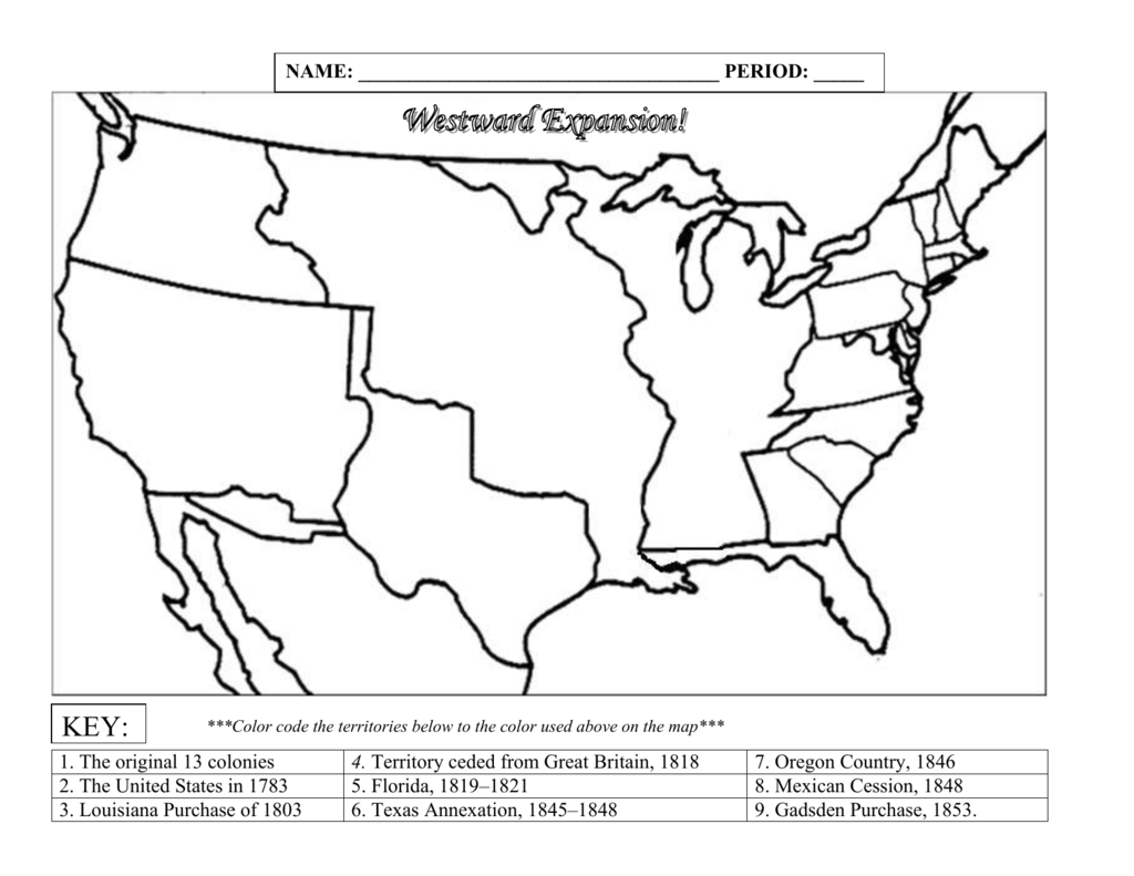 994220Westward Expansion Map Blank - Printable Map Of The 13 Colonies With Names