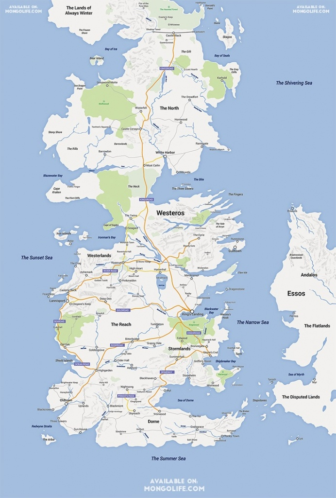 A Game Of Thrones Map, Google Maps Style - Nerdist - Printable Map Of Westeros
