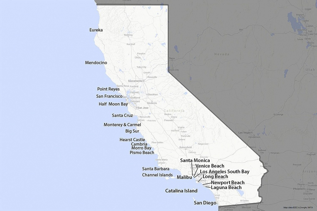 A Guide To California's Coast - Map Of California Cities