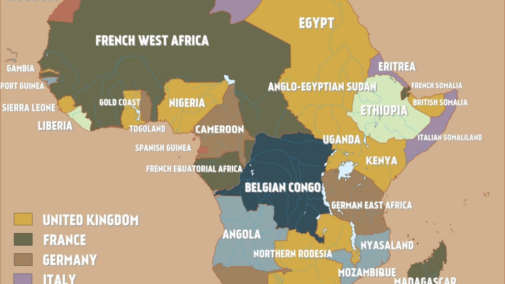 A Map Of Colonial Africa Just Before The Outbreak Of World War I - Printable Map Of The 13 Colonies With Names