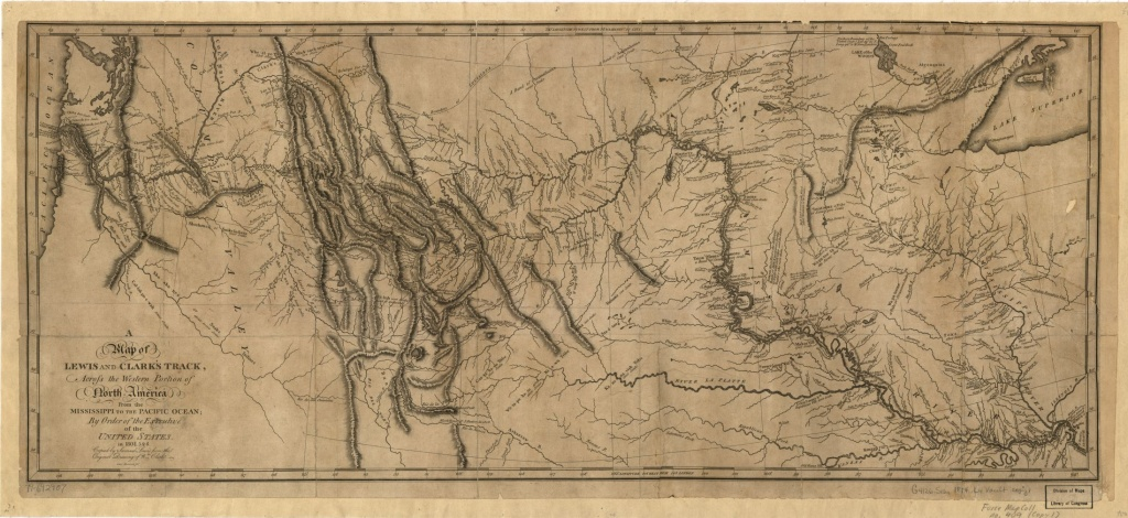 A Map Of Lewis And Clark's Track, Across The Western Portion Of - Lewis And Clark Expedition Map Printable