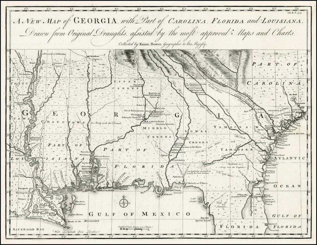 A New Map Of Georgia, With Part Of Carolina, Florida And Louisiana - Florida Louisiana Map