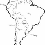 A Printable Map Of South America Labeled With The Names Each Outline   Printable Map Of South America With Countries