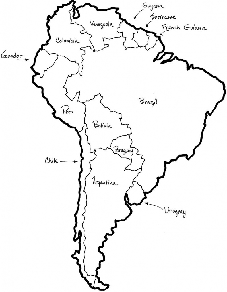 A Printable Map Of South America Labeled With The Names Each Outline - South America Outline Map Printable