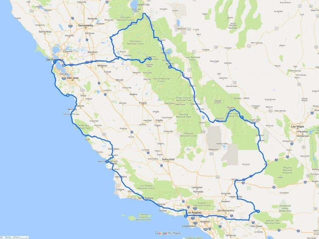 A Two Week California Road Trip Itinerary - Finding The Universe - Northern California Road Trip Map