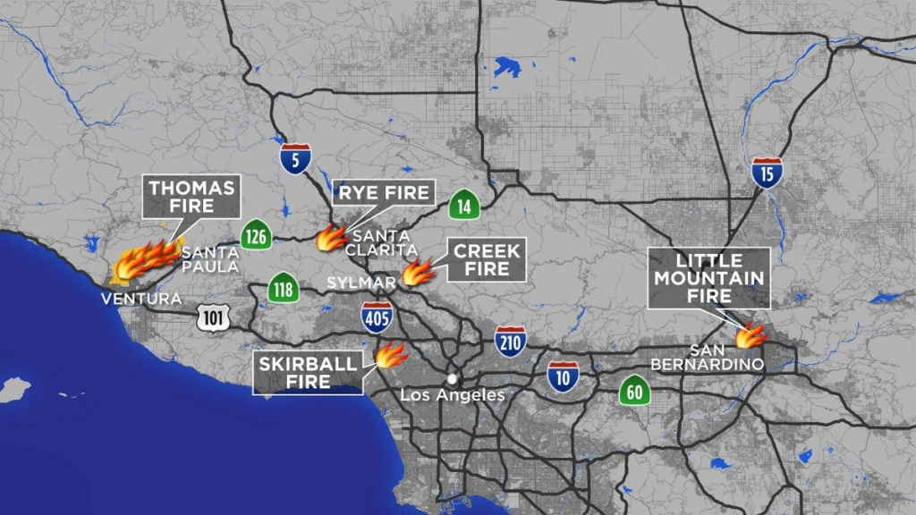 "Abc7 Eyewitness News On Twitter: ""maps: A Look At Each Southern - California Mountain Fire Map"
