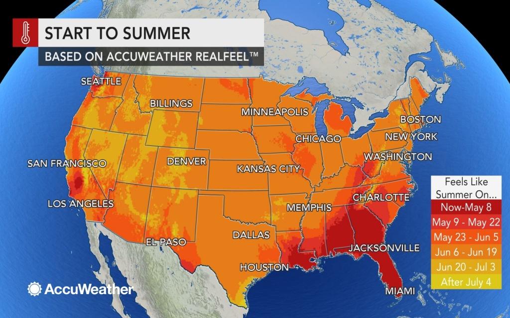 Accuweather 2019 Us Summer Forecast - Florida Weather Map Temperature
